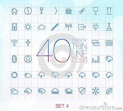 Free 40 Trendy Thin Icons Set 4 Stock Image - 50256151