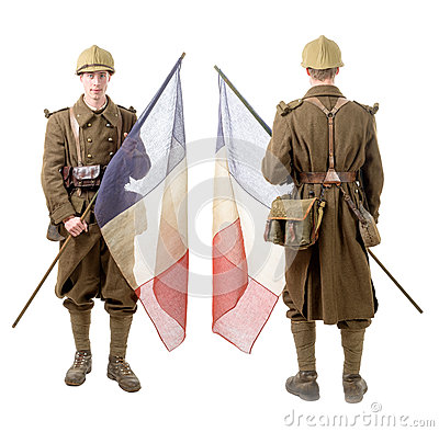 Free 40s French Soldier With A Flag, Back And Front View, Isolated On Royalty Free Stock Images - 66118079