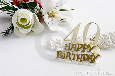 40th Birthday sign with pearls and silk rose