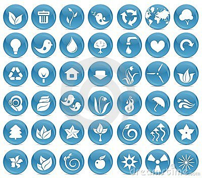 42 ecological icon buttons in vector