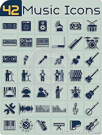 Free 42 Music Icons Vector Set Stock Photos - 42830063