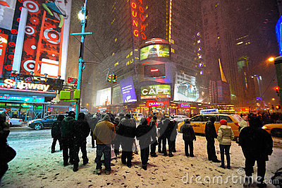 42 street in the snow storm, new york city Editorial Photo