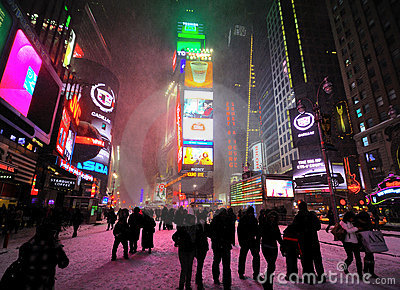 42 street under the snow Editorial Stock Photo
