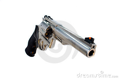 44 magnum revolver isolated wide angle view