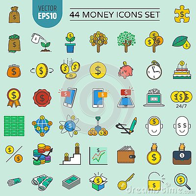 Free 44 Money Icons Set And Financial And Investment. Stock Images - 142534924