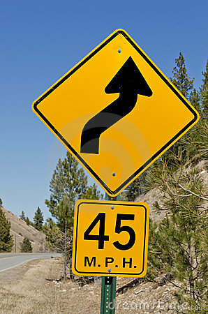 45 MPH Curve Sign Stock Images - Image: 23880324