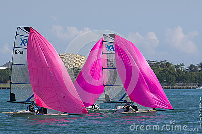 49erFXs downwind at ISAF World Cup Series in Miami Editorial Photo