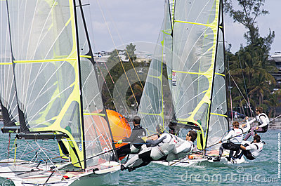 49ers crowd the mark at ISAF World Sailing Cup Miami (2013) Editorial Stock Photo