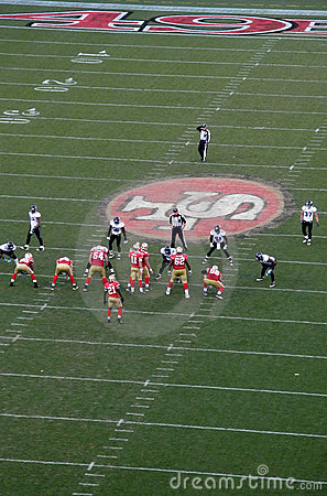 49ers line up for a play against the Jaguars Editorial Image