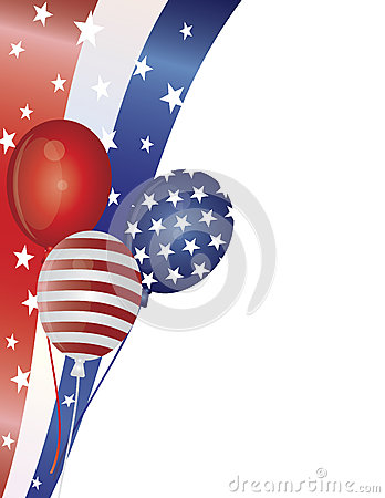 4th of July Balloons with Border Illustration