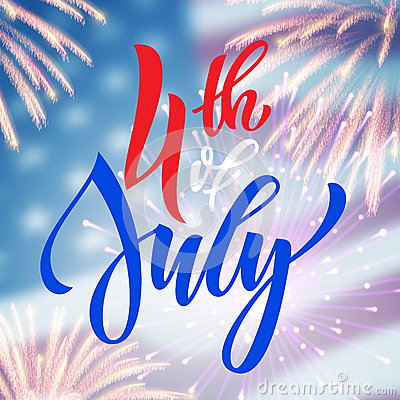 Free 4th July USA Fireworks Greeting Card Royalty Free Stock Image - 72686446