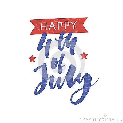 Free 4th Of July. Happy Independence Day Calligraphy Stock Image - 119846871