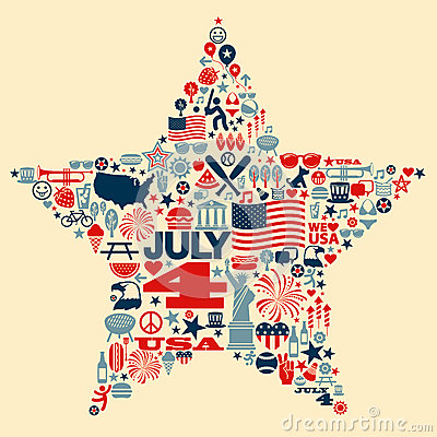 Free 4th Of July Icon Symbols Collage Illustration T-sh Stock Photography - 41338492