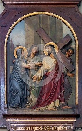 Free 4th Stations Of The Cross, Jesus Meets His Mother Stock Images - 132002444
