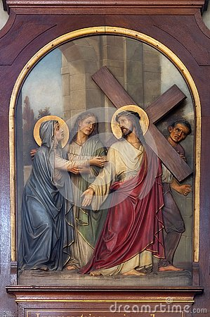 Free 4th Stations Of The Cross, Jesus Meets His Mother Royalty Free Stock Photography - 132002457