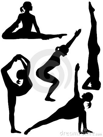 幼儿瑜伽剪影_自粘墙壁贴纸瑜伽健身房墙面装饰背景舞蹈房