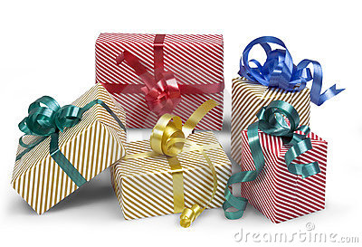 5 gift boxes with shadow