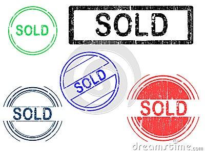 5 Grunge Stamps - SOLD
