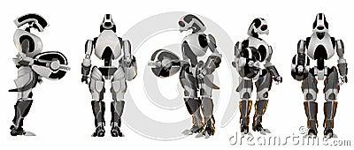 5 poses of futuristic guards