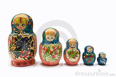 5 russian Matryoshka dolls