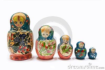 5 russian Matryoshka dolls