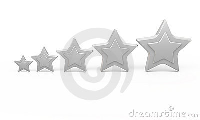 5 Silver Stars For Ranking Royalty Free Stock Image - Image: 12079966