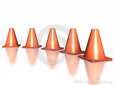 5 traffic cones in an arc