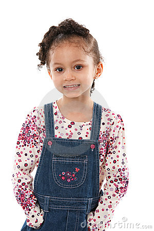 5 year old little girl standing smiling isolated