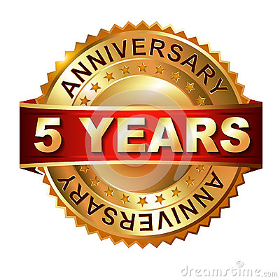 Free 5 Years Anniversary Golden Label With Ribbon. Stock Images - 40786644
