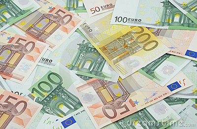 50, 100 and 200 euro banknotes background