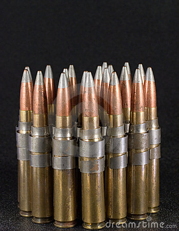 Free .50 Caliber Bullets On Black Royalty Free Stock Photography - 5699617
