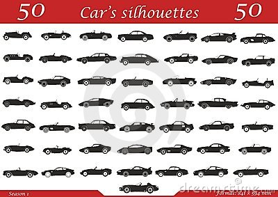 50 cars silhouettes