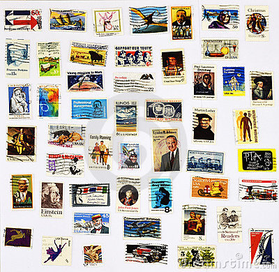 Free 50 Different Stamps Of The United States Royalty Free Stock Photo - 21154505