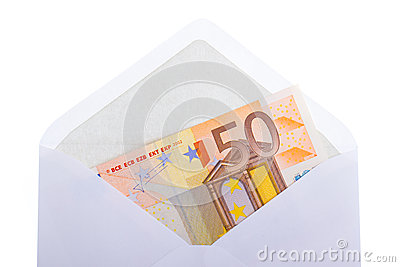 An 50 euro banknote in an envelope