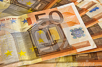 50 euro banknote on top