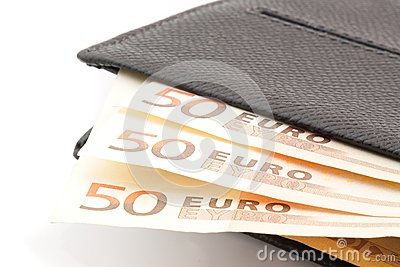 50 euro banknotes in leather wallet