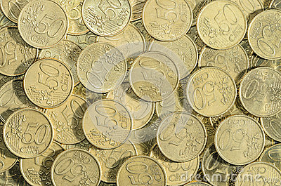50-EURO cent coins background