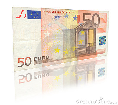 Free 50 Euro With Reflection Stock Images - 3085784