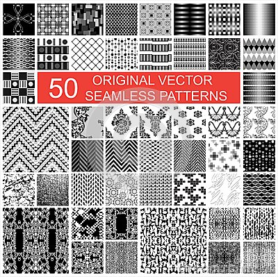 Free 50 Original Vector Seamless Pattern Royalty Free Stock Photo - 32791655