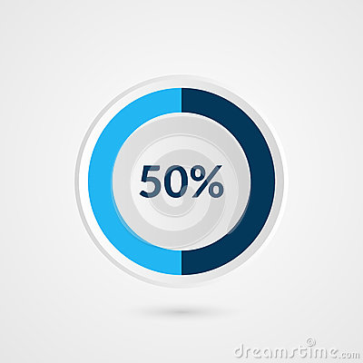 Free 50 Percent Blue Grey And White Pie Chart. Percentage Vector Infographics. Circle Diagram Business Illustration Royalty Free Stock Image - 86867736
