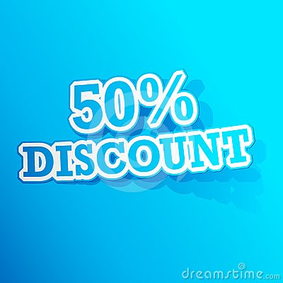50 percent Discount  Sticker