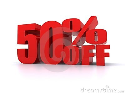 50  Percent off promotional sign