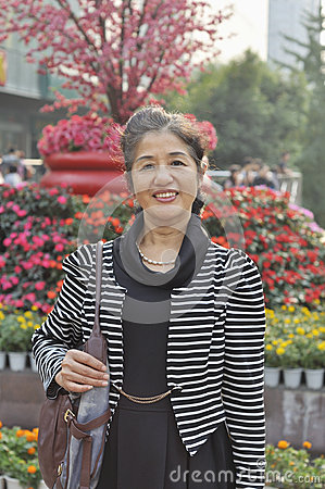 50 s chinese woman at park