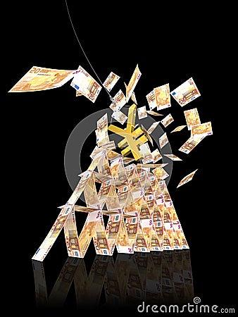 50 zawaleń się euro wierza jen