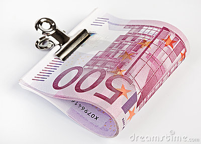 500 Euro bank notes fasten with paper clip