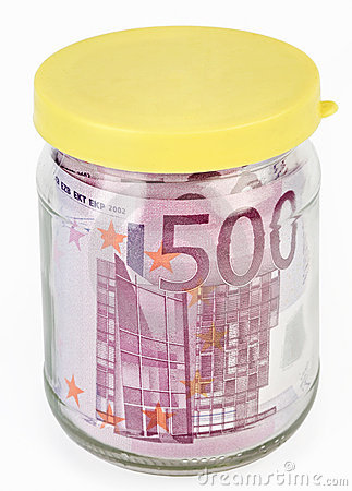 500 Euro bank notes in a glass jar