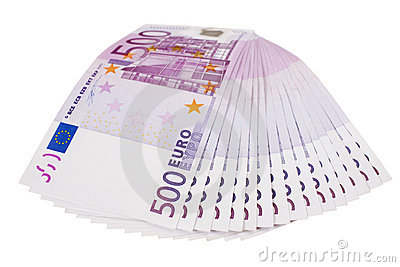 500 euro banknotes fan isolated