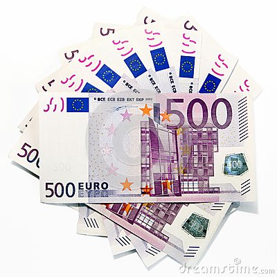 500 euro banknotes (fanned)