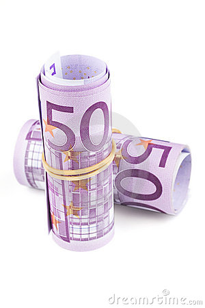 500 Euro rolled up on white background