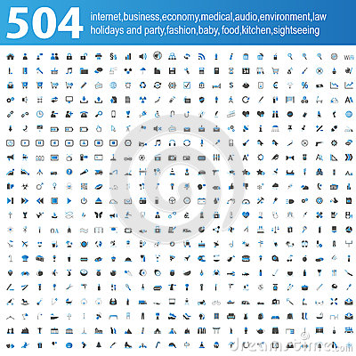 Free 504 Blue/grey Icons Royalty Free Stock Photos - 29535248
